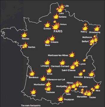 CARTE DES EMEUTES EN FRANCE....
