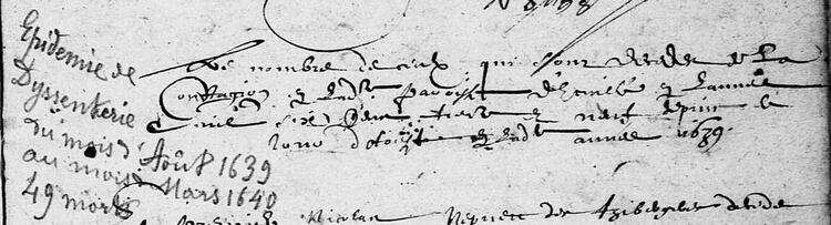Épidémie de dysenterie en Anjou en 1639