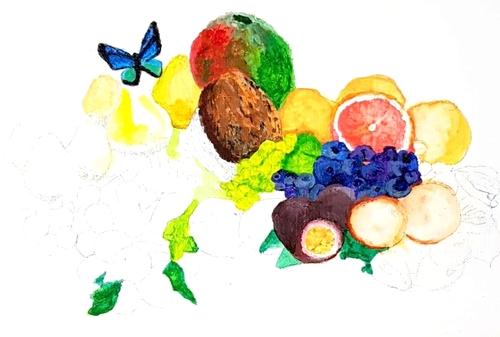 Fruits et papillon, pas à pas 4