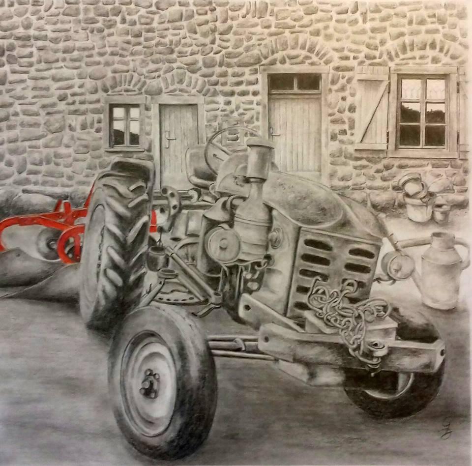 dessin au crayon (vieux tracteur)