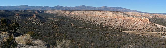 Une forêt se trouve à l'avant-plan et des montagnes se trouvent en arrière-plan. Une élévation au sommet relativement horizontal sépare les deux.