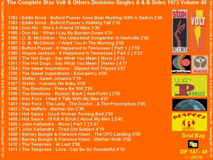 """ The Complete Stax-Volt Singles A & B Sides Vol. 48 Stax & Volt Records & Others Divisions "" SB Records DP 147-48 [ FR ]"