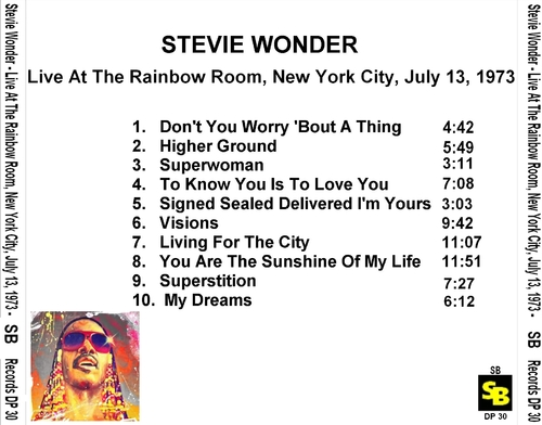 "Stevie Wonder : CD "" Live At The Rainbow Room, New York City, July 13, 1973 "" SB Records DP 30 [ FR ]"
