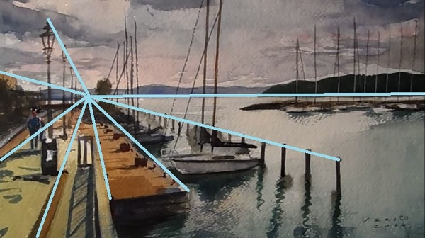 Dessin et peinture - vidéo 1468: Le port de plaisance peint à l'aquarelle.