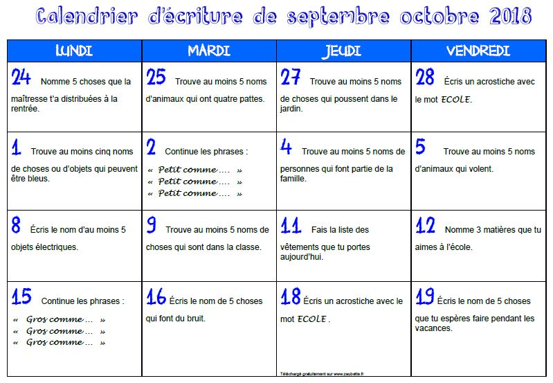Evaluation Calendrier Ce1.Production D Ecrits Zaubette