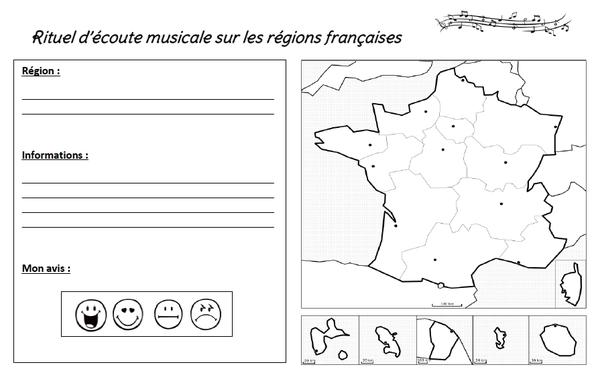 """Rituel """"écoute musicale"""" sur le thème des régions françaises"""