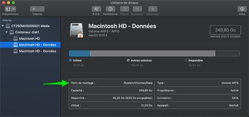 OS X Catalina : Comment se débarrasser des volumes Data en trop