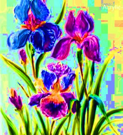 Dessin Et Peinture   Vidéo 2107 : De La Technique Pour Peindre Des Iris Et  Autres Fleurs, Avec Couteau Et Pinceau   Peinture Acrylique