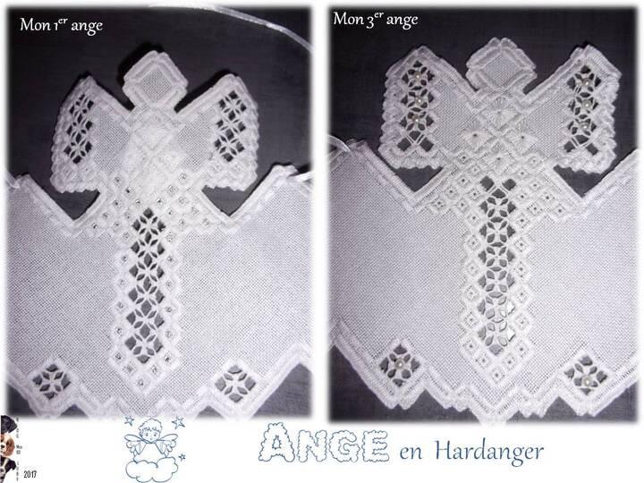 3ème ange en hardanger avec perles de culture