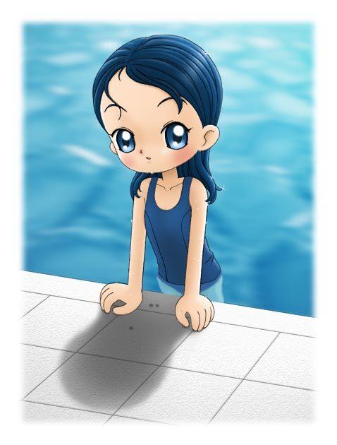 sophie qui sort de la piscine