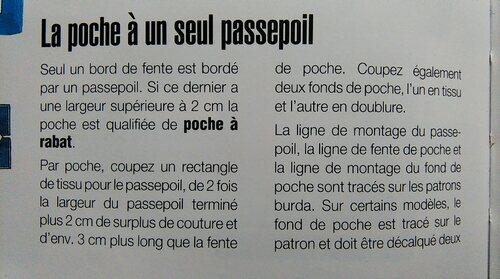 poche à un passepoil