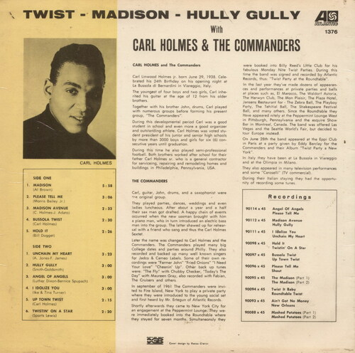 "Carl Holmes & The Commanders : Album "" Twist-Madison-Hully Gully With Carl Holmes & The Commanders "" Atlantic Records 1376 [ IT ]"