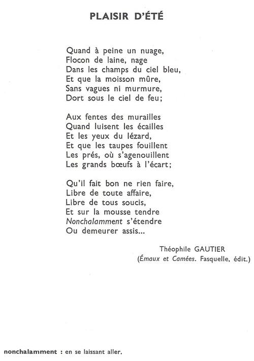 PLAISIR D'ÉTÉ (Théophile Gautier)