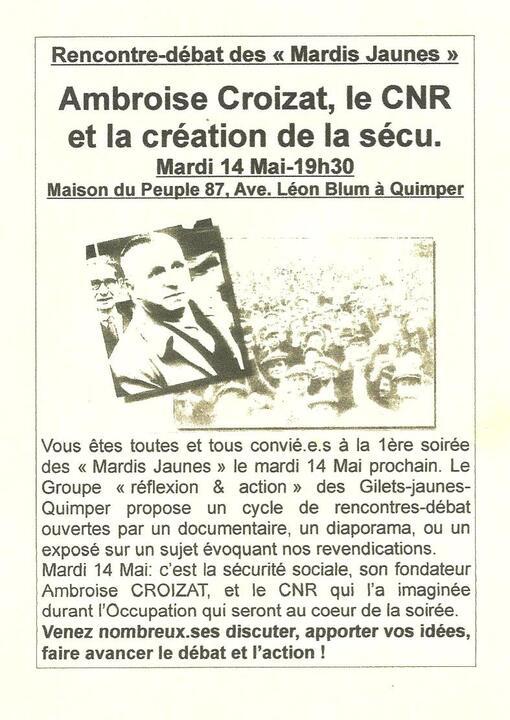 """1ère Rencontre-Débat des """"Mardis Jaunes"""": la Sécu (organisée par le Groupe """"réflexion & action é des Gilets Jaunes-Quimper)"""