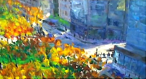 Dessin et peinture - vidéo 2560 : La grande aventure de la mégapole - peinture à l'huile sur grande toile 3.