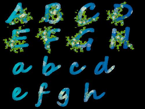 alphabet bleu et fleurs