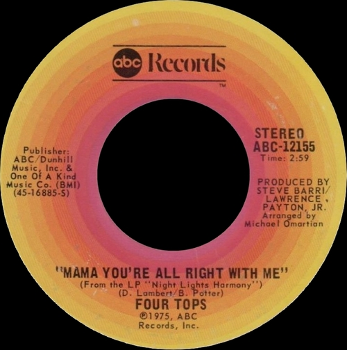 """The Four Tops : Album """" Night Lights Harmony """" ABC Records ABCD-862 [ US ]"""