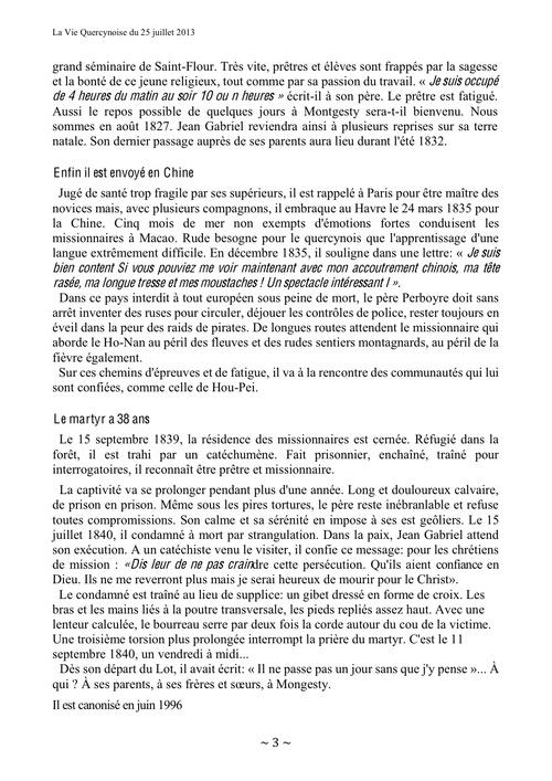 """Article dans """"la Vie Quercynoise"""""""