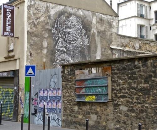 VHILS visage street-art rue Girard 4