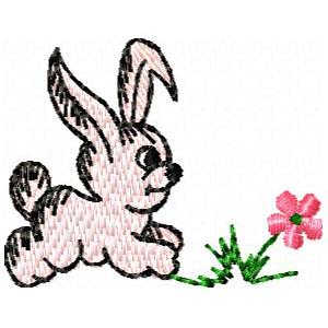 un lapin rose (broderie)