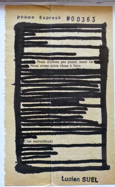Lucien Suel, caviardage de mots, poème express
