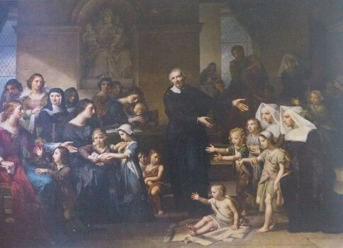 Tableau montrant un homme en noir, montrant des enfants miséreux à des femmes vêtues de bleu.