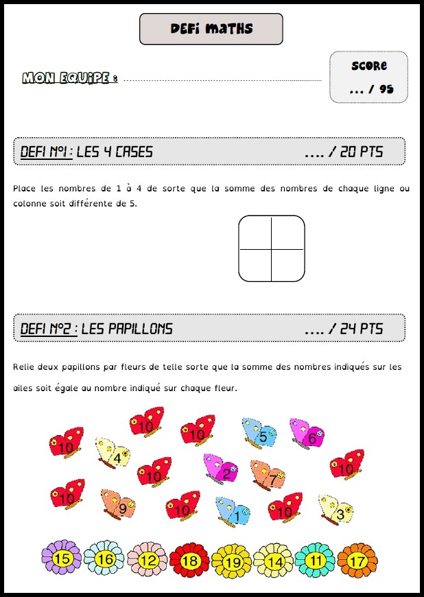 image défis maths 6