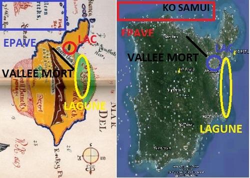 Le capitaine William Kidd sur KO SAMUI, Thaïlande, carte de Kidd. (Albert Fagioli)