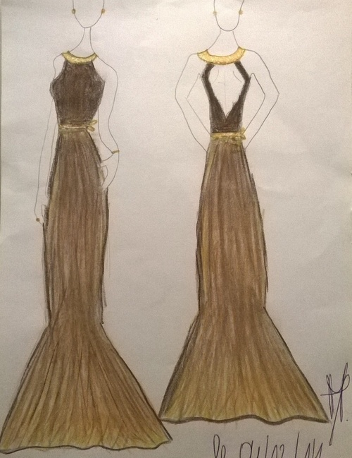 39° Dessin d'une longue robe d'automne 2014 (drawing of a long dresses autumn)