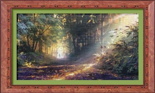 Dessin et peinture - vidéo 2513 : Les rayons lumineux dans le chemin forestier - huile ou acrylique.