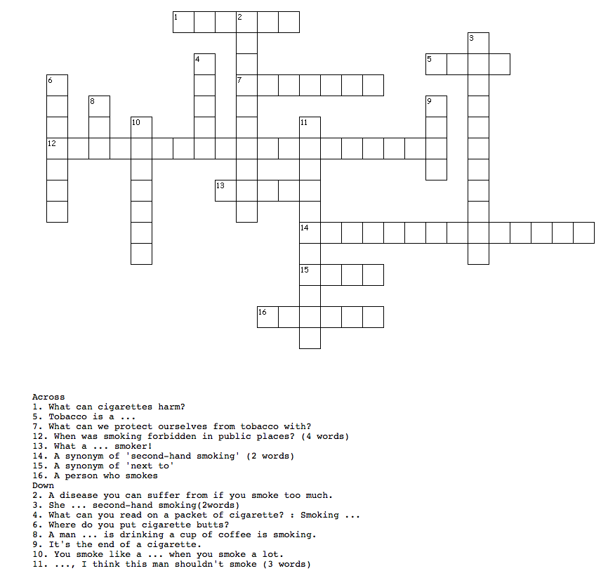 Criss Cross Puzzle about Tobacco - Paulette loves English