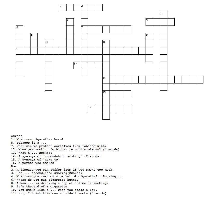 Criss cross puzzle about tobacco paulette loves english criss cross puzzle about tobacco fandeluxe PDF