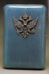 Etui à Cigarette émail- argent-diamants-saphirs (1908)