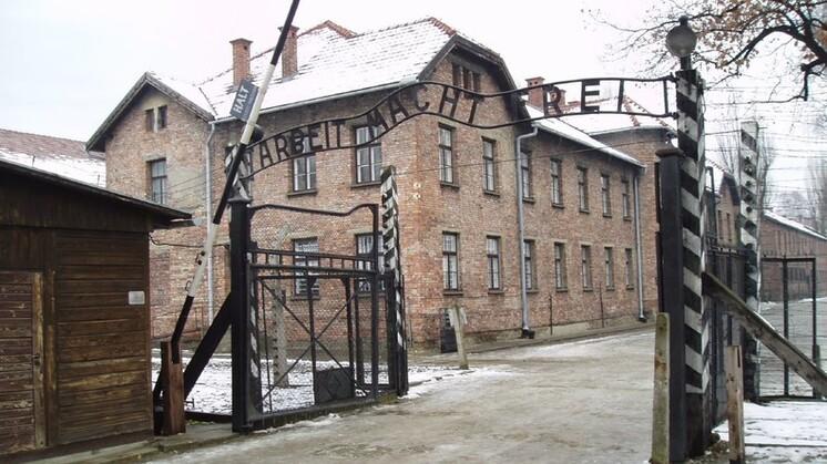 L'entrée du camp d'Auschwitz.