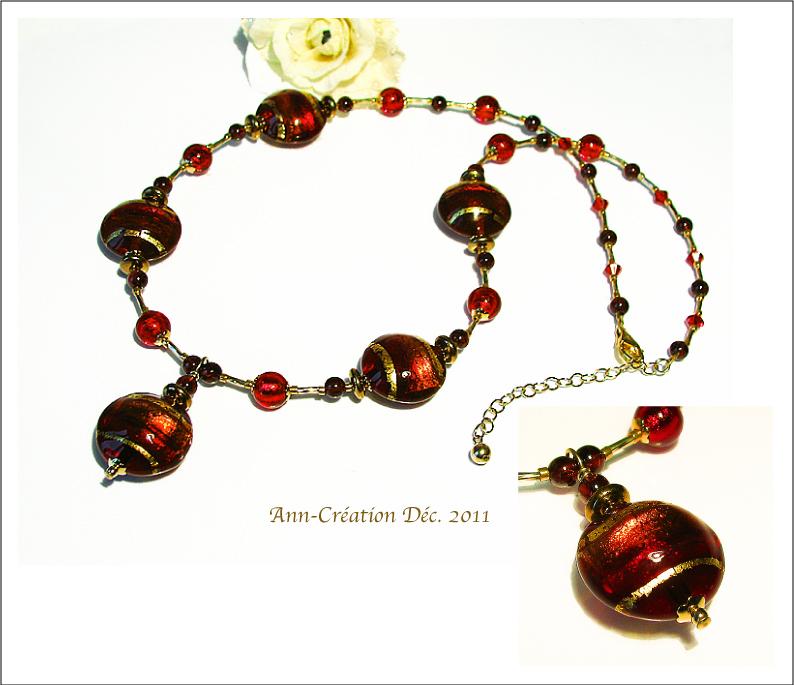 Collier Verre de Murano Authentique Rouge / Cristal de Swarovski / Pl Or 14 k GF
