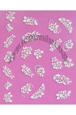 Stickers d'ongles roses blanches en duo et strass