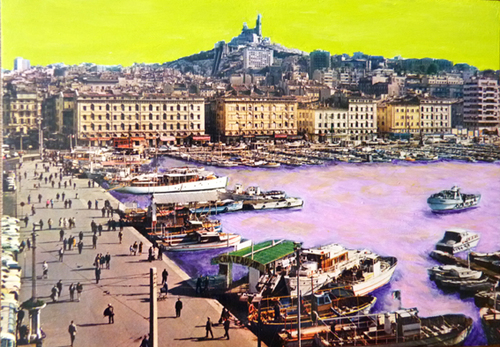 carte postale de Marseille retouchée à l'acrylique