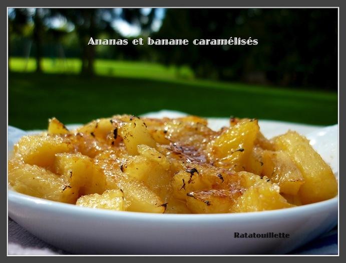 Ananas et bananes caramélisés