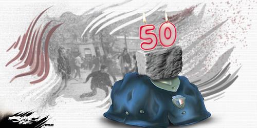 dessin de JERC du mercredi 02 mai 2018 caricature Gâteau anniversaire mai 68 Voici le mois de mai où les pavés volent au vent www.facebook.com/jercdessin @dessingraffjerc