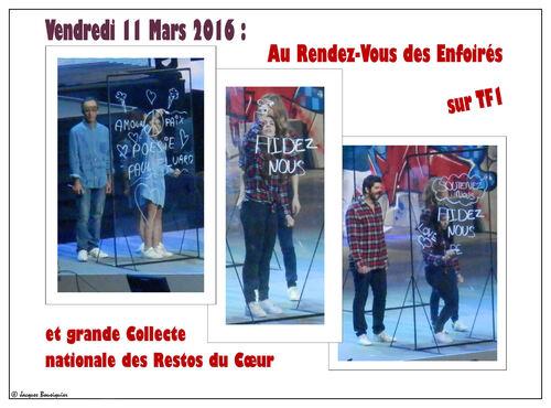 Vendredi 11, Samedi 12 Mars 2016, grande collecte des Restos du Cœur et concert des Enfoirés sur TF1