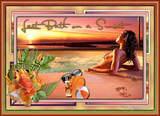 Dernier bain sur un coucher de soleil...