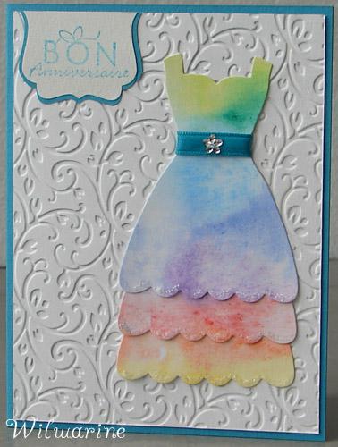 Carte d'anniversaire en robe longue