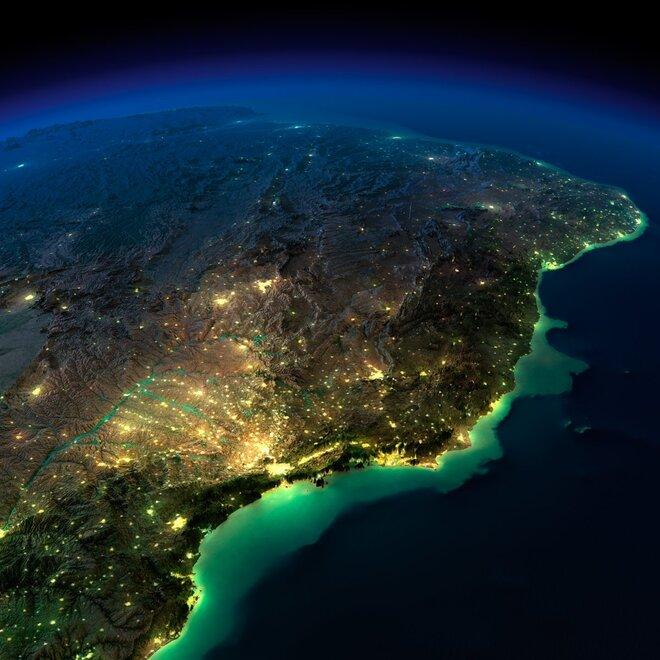earth night photos brazil