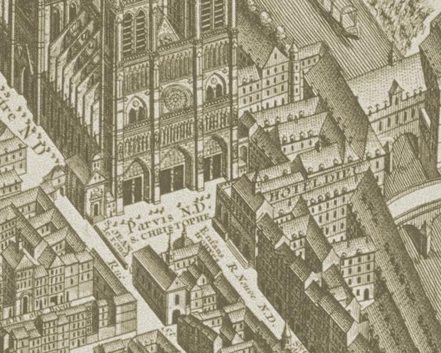 Le parvis de Notre-Dame et l'Hôtel-de-Dieux
