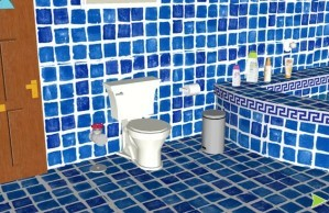 Blue bathroom escape