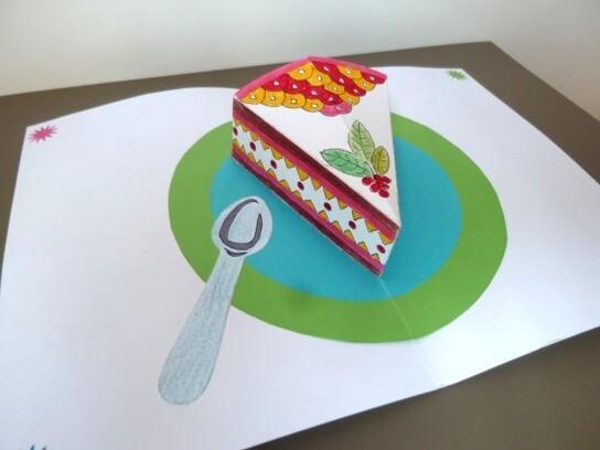 POP-UP gâteau Part de tarte pliage arts plastiques et déc