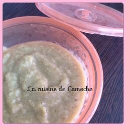 Purée d'aubergine, courgette, semoule et jambon thermomix