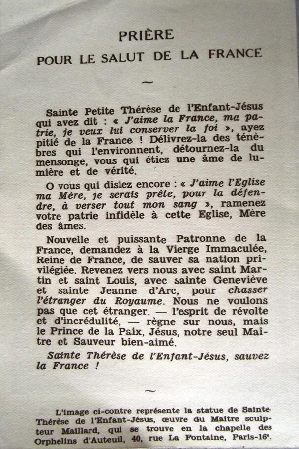 Prière pour le salut de la France (Sainte Thérèse de l'Enfant Jésus)