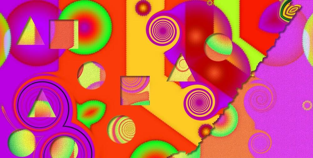 Grands fonds abstraits, très très très colorés et fantaisites