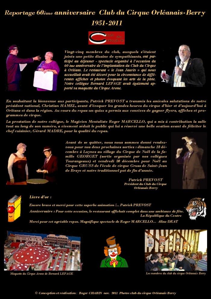 Reportage  anniversaire Club du Cirque  13 novembre 2011